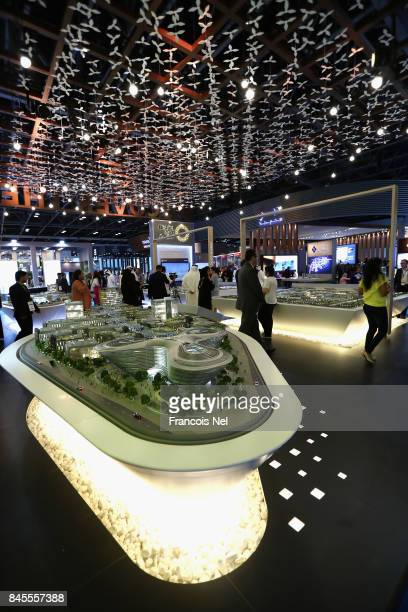 A general view of the Expo Dubai 2020 stand during Cityscape Global at Dubai World Trade Centre on September 11 2017 in Dubai United Arab Emirates