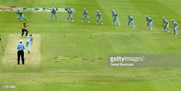 General View of the extended slips cordon in the last over of play during the ING Cup cricket match between the New South Wales Blues and the...