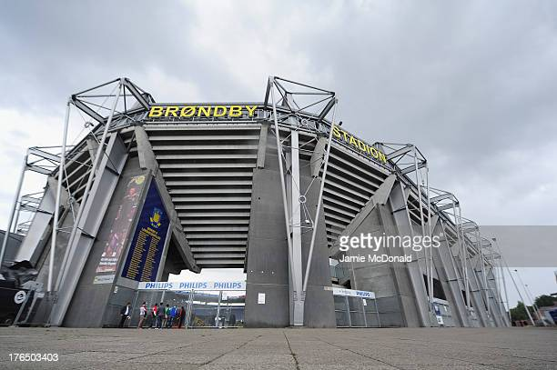 A general view of the exteria of the Brondby Stadium during the international friendly match between Chile and Iraq at the Brondby Stadium on August...