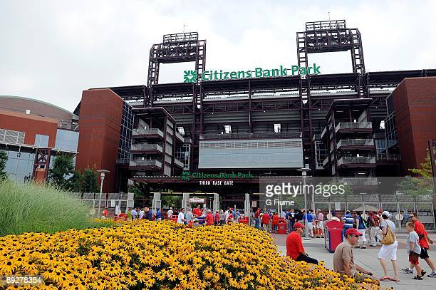 General view of the exterior as fans enter the stadium before the game between the Chicago Cubs and the Philadelphia Phillies at Citizens Bank Park...