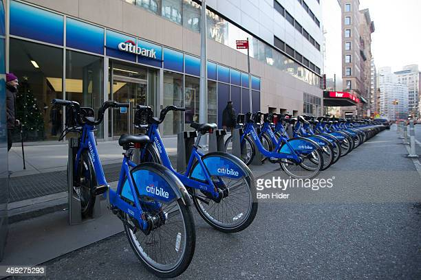 A general view of the exterior facade of Citibank with citi bikes parked outside on December 24 2013 in New York City