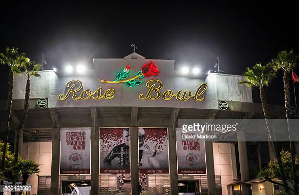 A general view of the exterior facade of the Rose Bowl stadium during the 102nd Rose Bowl game between the Iowa Hawkeyes and the Stanford Cardinal...