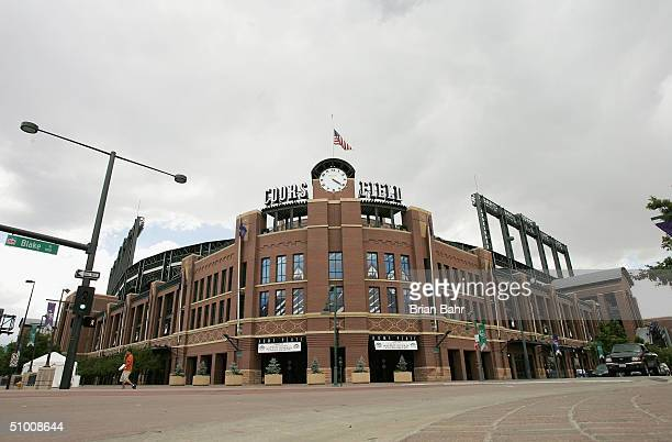 A general view of the exterior home plate entrance to Coors Field home of the Colorado Rockies on June 14 2004 in Denver Colorado