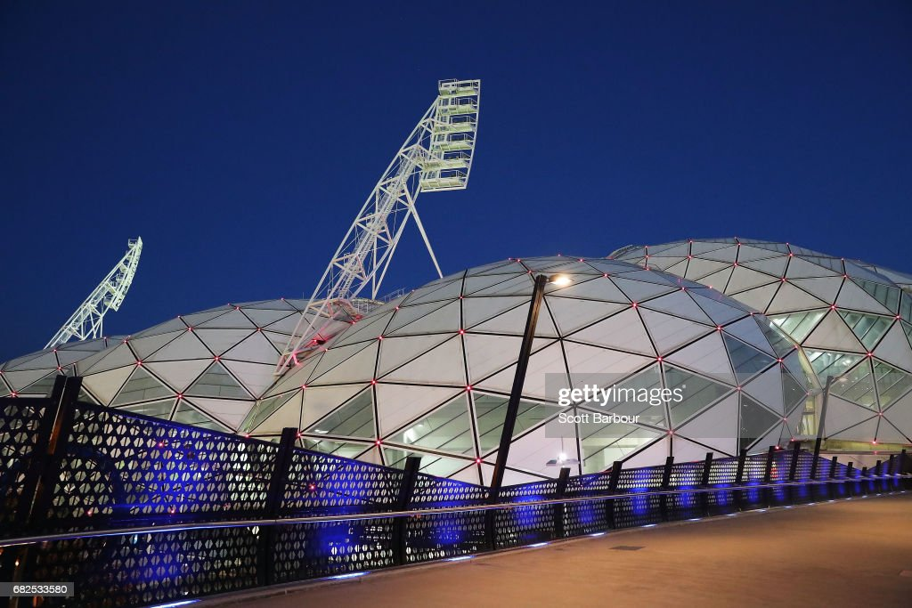 A general view of the exterior of AAMI Park during the round 12 Super Rugby match between the Melbourne Rebels and the Queensland Reds at AAMI Park on May 13, 2017 in Melbourne, Australia.
