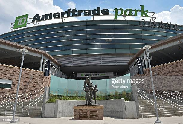 A general view of the exterior of TD Ameritrade Park prior to game one of the College World Series Championship Series between the Arizona Wildcats...