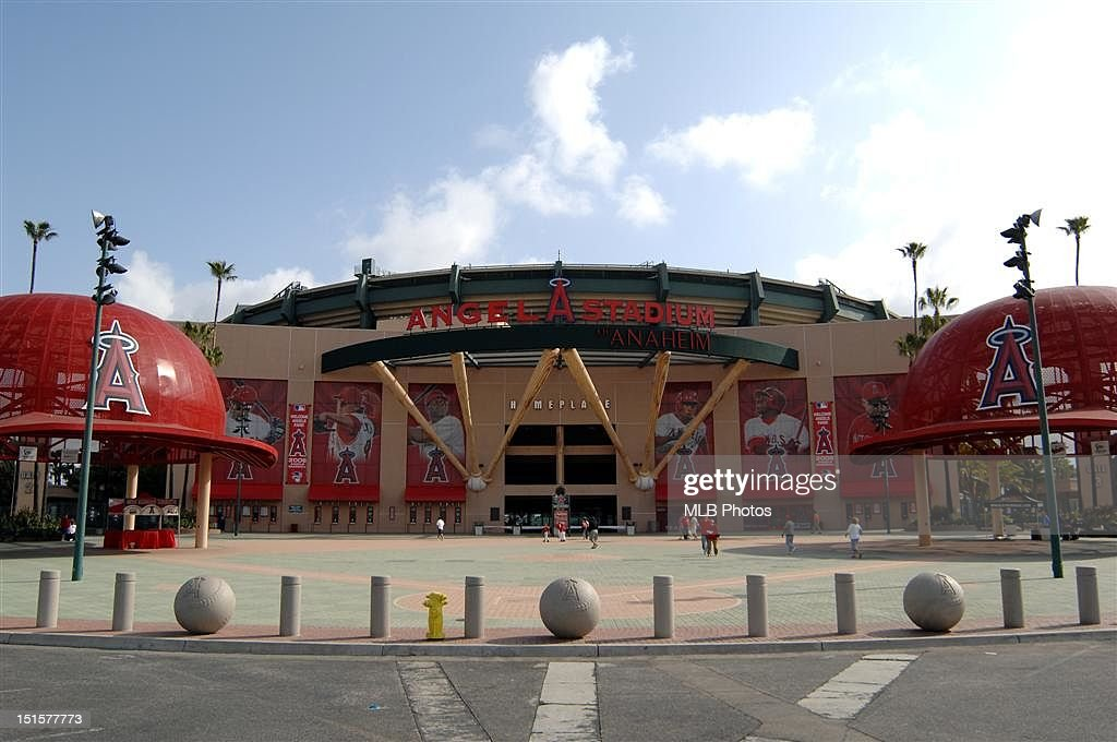 A general view of the exterior of Angel Stadium is seen prior to a game between the Texas Rangers and the Los Angeles Angels of Anaheim on April 6, 2008 in Anaheim, California.