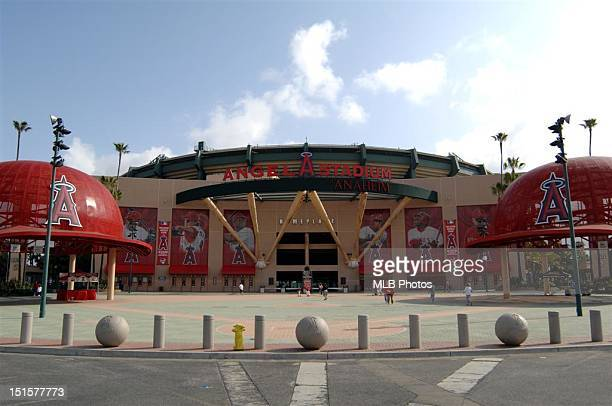 A general view of the exterior of Angel Stadium is seen prior to a game between the Texas Rangers and the Los Angeles Angels of Anaheim on April 6...