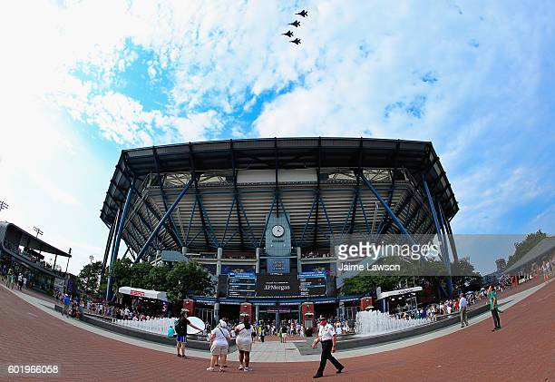 A general view of the exterior of Arthur Ashe Stadium is seen as F15E Strike Eagles from the 334th Fighter Squadron fly over prior to the Women's...