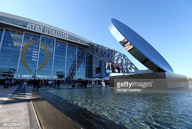 General view of the exterior of AT&T Stadium before the NFC Wildcard Playoff Game between the Dallas Cowboys and the Detroit Lions on January 4, 2015...