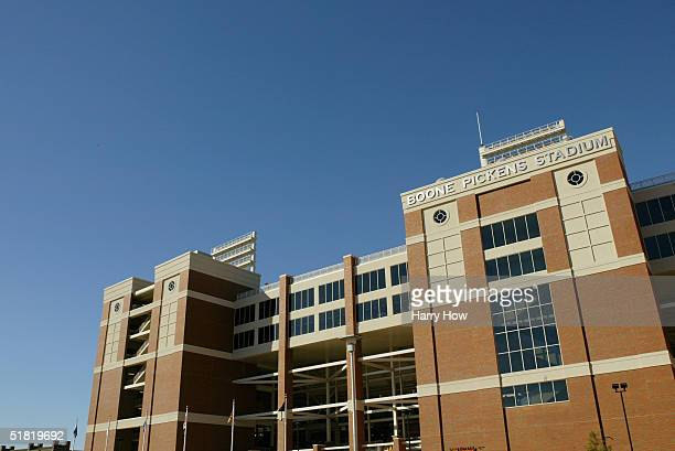 General View of the exterior of Boone Pickens Stadium before the game between the Texas AM Aggies and the Oklahoma State Cowboys on October 16 2004...