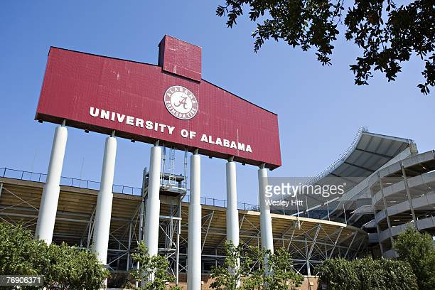 General view of the exterior of BryantDenny Stadium home of the Alabama Crimson Tide before a game against the Arkansas Razorbacks on September 15...