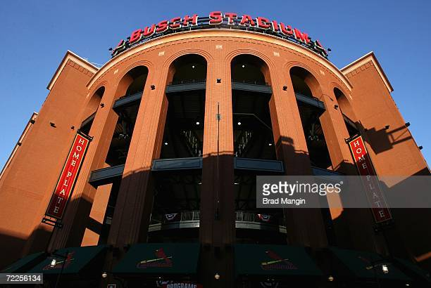 General view of the exterior of Busch Stadium before Game Three of the 2006 World Series between the Detroit Tigers and the St Louis Cardinals on...