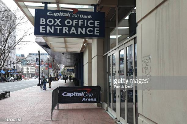A general view of the exterior of Capital One Arena after the Detroit Red Wings against the Washington Capitals NHL game was postponed due to the...