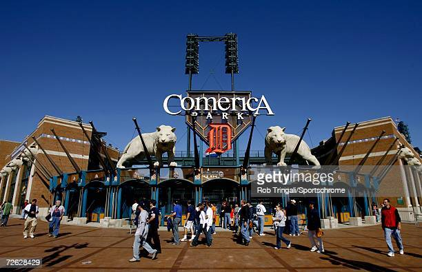 A general view of the exterior of Comerica Park before Game Four of the 2006 American League Division Series on October 7 2006 at Comerica Park in...