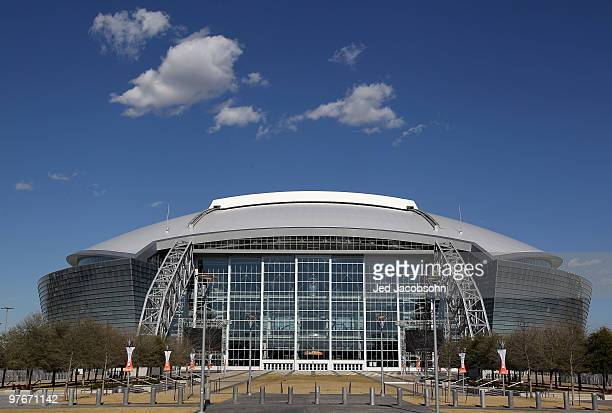 A general view of the exterior of Cowboys Stadium before the weighin for the WBO welterweight title fight between Manny Pacquiao of the Philippines...