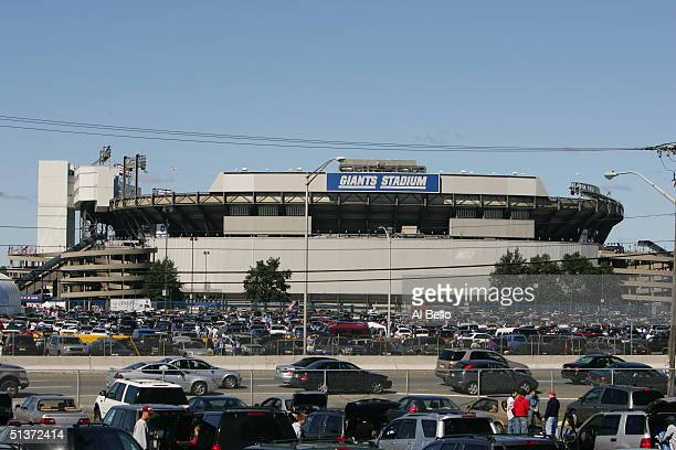 General view of the exterior of Giants Stadium during the game between the New York Giants and the Washington Redskins on September 19, 2004 at...