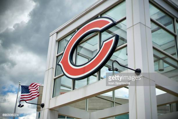A general view of the exterior of Halas Hall and the Chicago Bears logo during the Bears team OTA workouts on May 30 2017 at Halas Hall in Lake...
