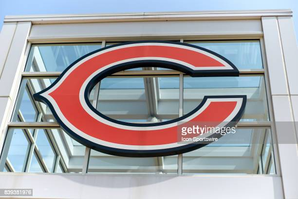 A general view of the exterior of Halas Hall and the Chicago Bears logo during the Bears training camp on August 24 2017 at Halas Hall in Lake Forest...