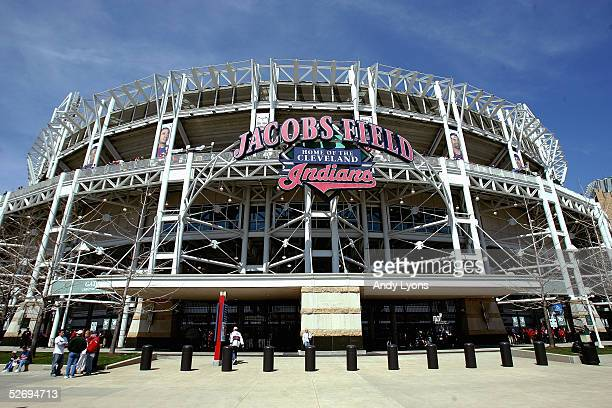 General view of the exterior of Jacobs Field before the game between the Chicago White Sox and the Cleveland Indians on April 11 2005 at Jacobs Field...
