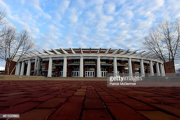 A general view of the exterior of John Paul Jones Arena before the start of basketball game between the Clemson Tigers and Virginia Cavaliers on...