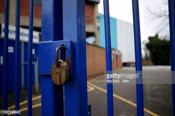 MARCH A general view of the exterior of locked gates at Hillsborough stadium the home of Sheffield Wednesday on March 14 2020 in Sheffield England...