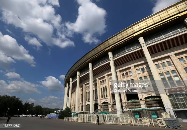 A general view of the exterior of Luzhniki Stadium ahead of the 14th IAAF World Athletics Championships Moscow 2013 on August 8 2013 in Moscow Russia