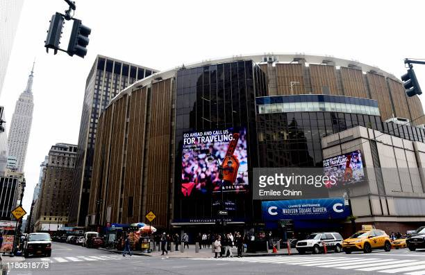 General view of the exterior of Madison Square Garden prior to the game between the New York Rangers and Edmonton Oilers on October 12, 2019 in New...