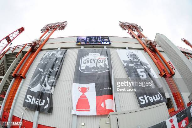 General view of the exterior of McMahon Stadium prior to the 107th Grey Cup Championship Game between the Winnipeg Blue Bombers and the Hamilton...