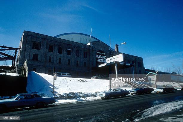 General view of the exterior of Olympic Arena in March 1978 in Lake Placid New York This will be the home of the 1980 Olympic Games