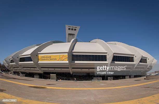 A general view of the exterior of Olympic Stadium prior to the game between theToronto Blue Jays and the Cincinnati Reds on Friday April 3 2015 in...