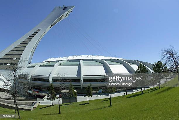 A general view of the exterior of Olympic Stadium prior to the game between the Atlanta Braves and the Montreal Expos at Olympic Stadium on May 24...