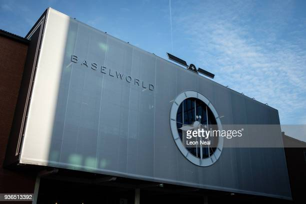 A general view of the exterior of one of the halls at the BaselWorld watch fair on March 22 2018 in Basel Switzerland The annual watch trade fair...