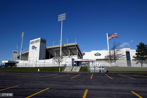 General view of the exterior of Ralph Wilson Stadium on November 29, 2003 in Orchard Park, New York.