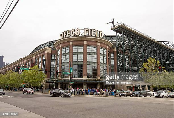 A general view of the exterior of Safeco Field prior to the game between the Seattle Mariners and the Minnesota Twins on April 26 2015 at Safeco...