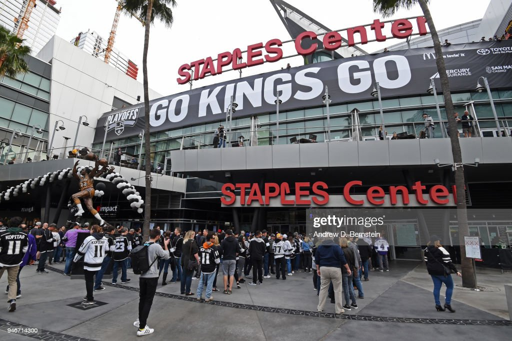 A general view of the exterior of STAPLES Center before Game Three of the Western Conference First Round during the 2018 NHL Stanley Cup Playoffs at STAPLES Center on April 15, 2018 in Los Angeles, California.