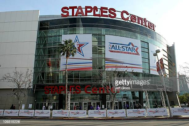 A general view of the exterior of Staples Center before the 2011 NBA AllStar Game on February 20 2011 in Los Angeles California NOTE TO USER User...