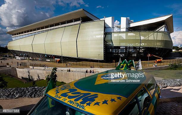 A general view of the exterior of the Arena Pantanal Stadium before the match between Santos and Atletico MG for the Brazilian Series A 2014 at Arena...