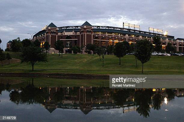 A general view of the exterior of the Ballpark in Arlington before a game between the Seattle Mariners and the Texas Rangers on July 6 2003 in...
