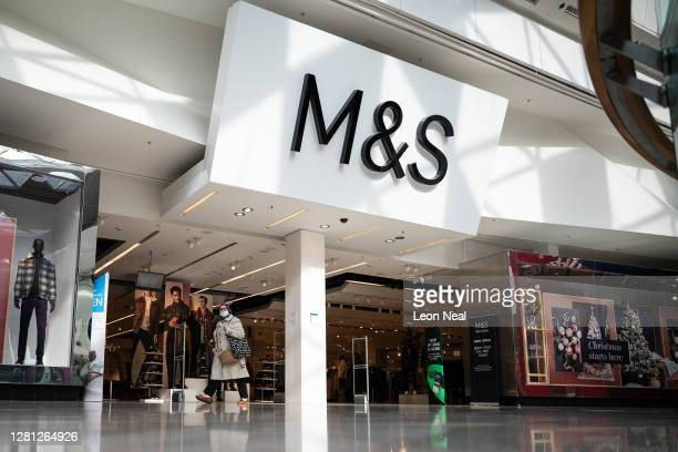 A general view of the exterior of the branch of retailer Marks and Spencer at Westfield White City on October 20 2020 in London England The high...