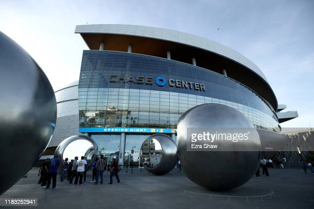 A general view of the exterior of the Chase Center before the Golden State Warriors play their first regular season game in the arena against the LA...