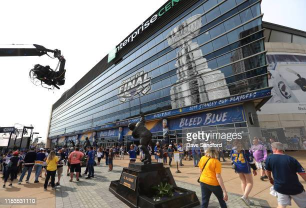 General view of the exterior of the Enterprise Center as fans gather for Game Four of the 2019 NHL Stanley Cup Final between the Boston Bruins and...