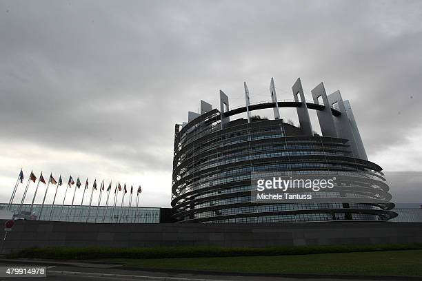 A general view of the exterior of The European Parliament on July 8 2015 in Strasbourg France Eurozone member nations have given Greece until...