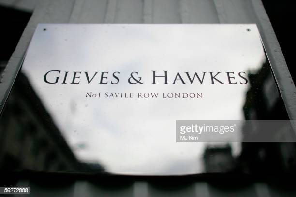 A general view of the exterior of the Gieves Hawkes store in Savile Row is seen on November 25 2005 in London England