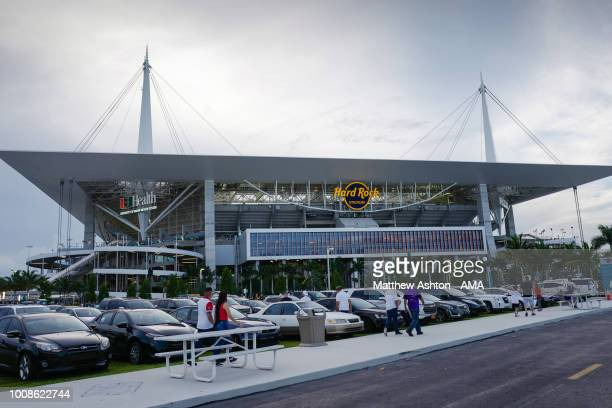 A general view of the exterior of the Hard Rock Stadium in Miami the home of the Miami Dolphins and venue for the International Champions Cup 2018...