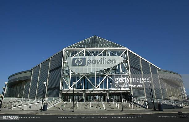 General view of the exterior of the HP Pavilion before the San Jose Sharks take on the Edmonton Oilers in game two of the Western Conference...