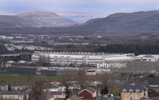 General view of the exterior of the Liberty Stadium, home of Swansea City Football club and The Osprey's Rugby Club on March 20, 2020 in Swansea,...