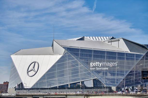 A general view of the exterior of the MercedesBenz Stadium is seen on the exterior of the MercedesBenz Stadium during an NFL football game between...