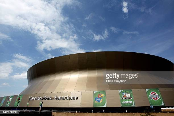 General view of the exterior of the Mercedes-Benz Superdome during practice prior to the 2012 Final Four of the NCAA Division I Men's Basketball...