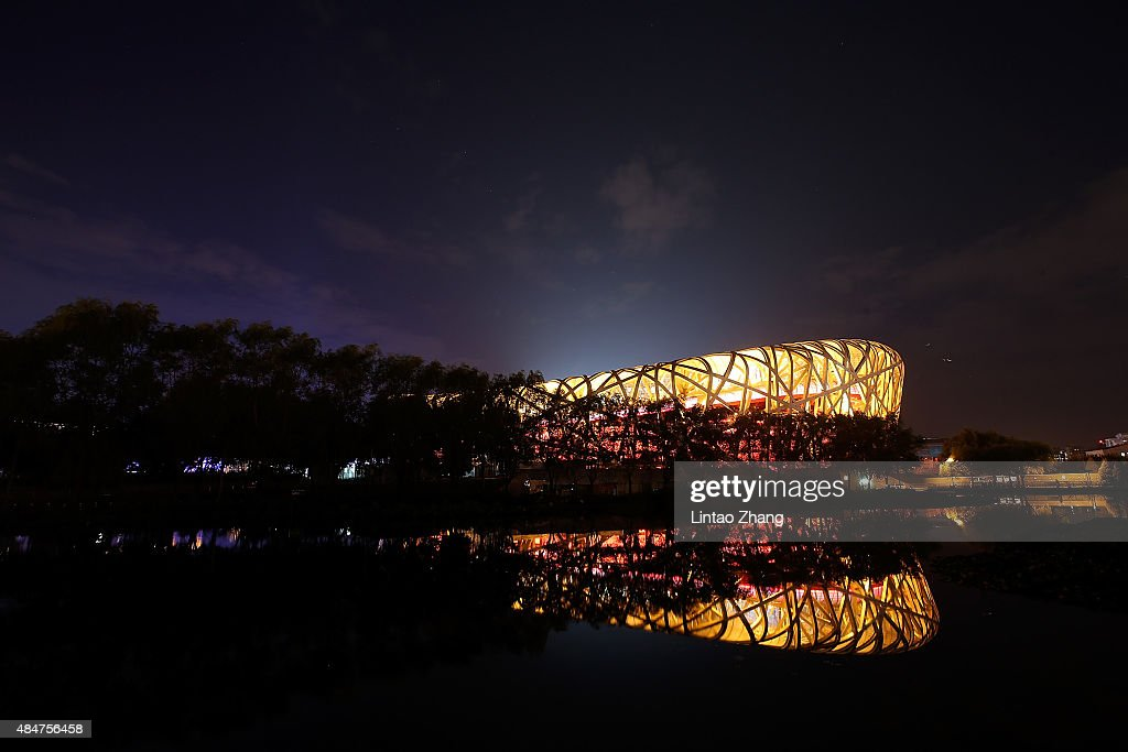 A general view of the exterior of the National Stadium ahead of the 15th IAAF World Athletics Championships Beijing 2015 on August 21, 2015 in Beijing, China.