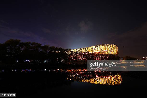 A general view of the exterior of the National Stadium ahead of the 15th IAAF World Athletics Championships Beijing 2015 on August 21 2015 in Beijing...